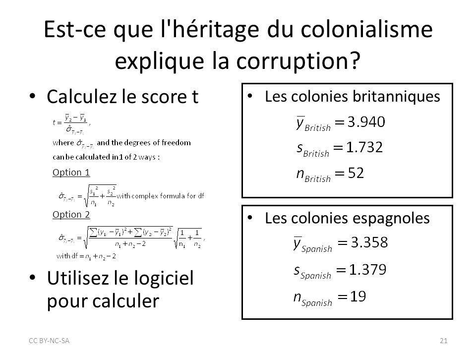 Est-ce que l'héritage du colonialisme explique la corruption? Calculez le score t Option 1 Option 2 Utilisez le logiciel pour calculer Les colonies br