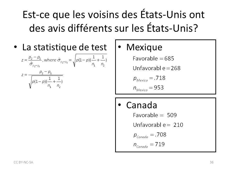 Est-ce que les voisins des États-Unis ont des avis différents sur les États-Unis? Mexique Canada CC BY‐NC‐SA36 La statistique de test