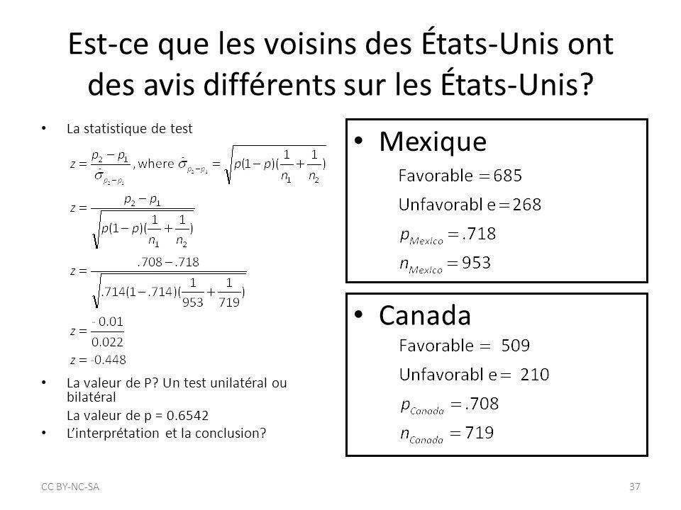 La valeur de P? Un test unilatéral ou bilatéral La valeur de p = 0.6542 L'interprétation et la conclusion? Est-ce que les voisins des États-Unis ont d