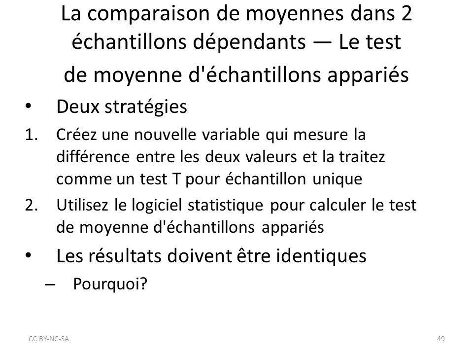 La comparaison de moyennes dans 2 échantillons dépendants — Le test de moyenne d'échantillons appariés Deux stratégies 1.Créez une nouvelle variable q