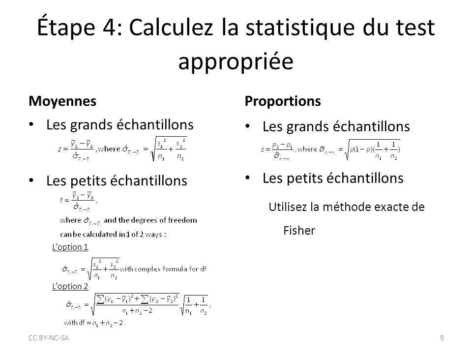 Étape 4: Calculez la statistique du test appropriée Moyennes Les grands échantillons Les petits échantillons L'option 1 L'option 2 Proportions Les gra