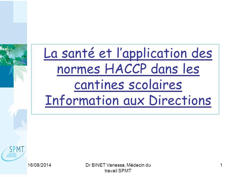 16/08/2014Dr BINET Vanessa, Médecin du travail SPMT 1 La santé et l'application des normes HACCP dans les cantines scolaires Information aux Directions