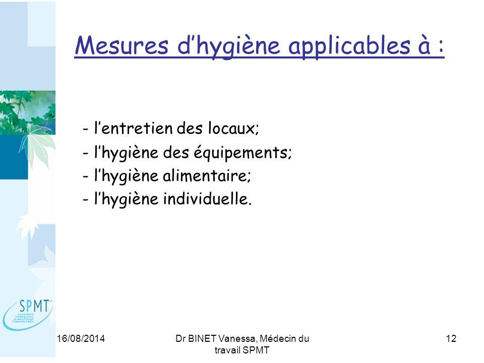 16/08/2014Dr BINET Vanessa, Médecin du travail SPMT 12 Mesures d'hygiène applicables à : - l'entretien des locaux; - l'hygiène des équipements; - l'hygiène alimentaire; - l'hygiène individuelle.