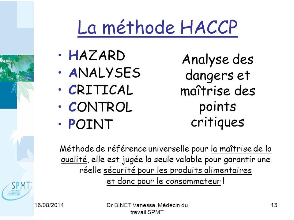 16/08/2014Dr BINET Vanessa, Médecin du travail SPMT 13 La méthode HACCP HAZARD ANALYSES CRITICAL CONTROL POINT Méthode de référence universelle pour la maîtrise de la qualité, elle est jugée la seule valable pour garantir une réelle sécurité pour les produits alimentaires et donc pour le consommateur .