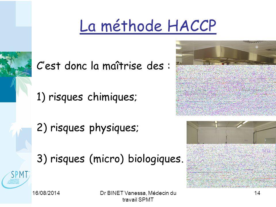 16/08/2014Dr BINET Vanessa, Médecin du travail SPMT 14 La méthode HACCP C'est donc la maîtrise des : 1) risques chimiques; 2) risques physiques; 3) risques (micro) biologiques.