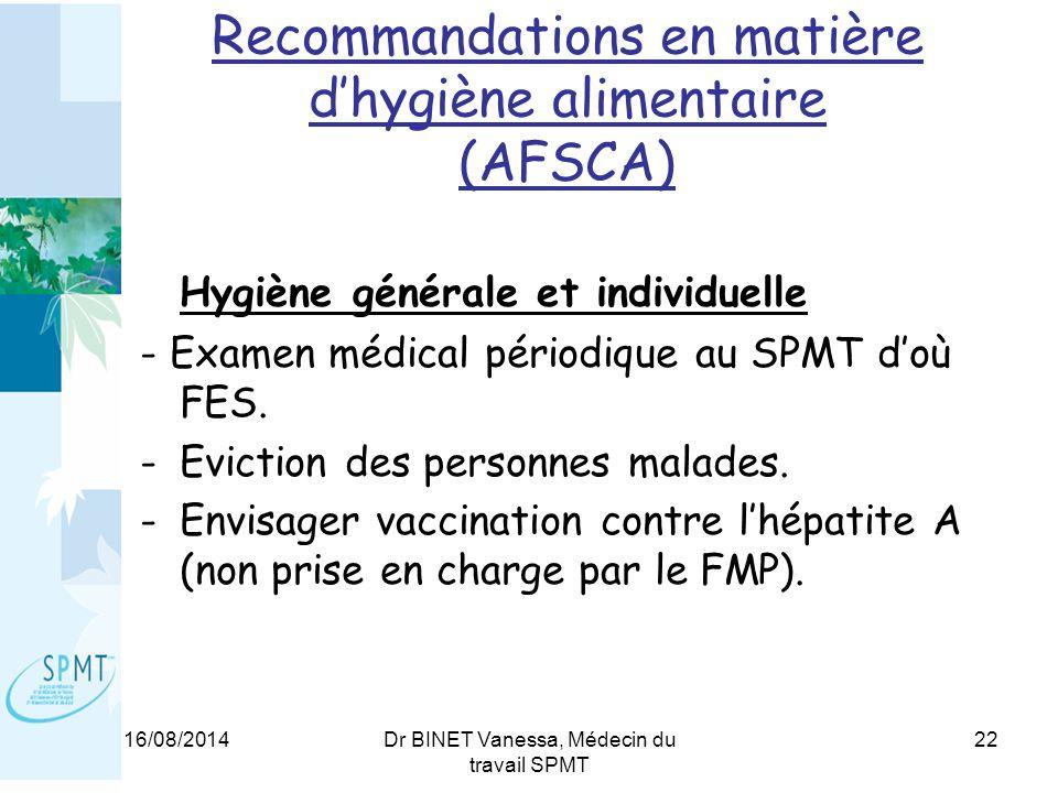 16/08/2014Dr BINET Vanessa, Médecin du travail SPMT 22 Recommandations en matière d'hygiène alimentaire (AFSCA) Hygiène générale et individuelle - Examen médical périodique au SPMT d'où FES.