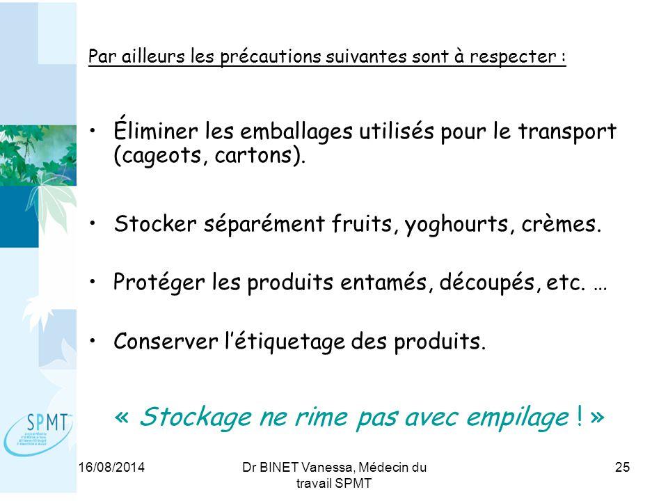 16/08/2014Dr BINET Vanessa, Médecin du travail SPMT 25 Par ailleurs les précautions suivantes sont à respecter : Éliminer les emballages utilisés pour le transport (cageots, cartons).