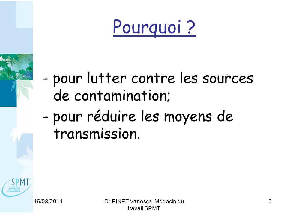 16/08/2014Dr BINET Vanessa, Médecin du travail SPMT 3 Pourquoi .