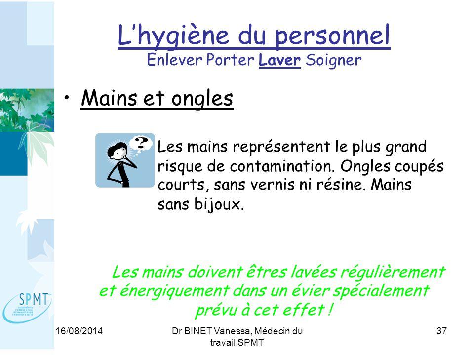 16/08/2014Dr BINET Vanessa, Médecin du travail SPMT 37 L'hygiène du personnel Enlever Porter Laver Soigner Mains et ongles Les mains représentent le plus grand risque de contamination.