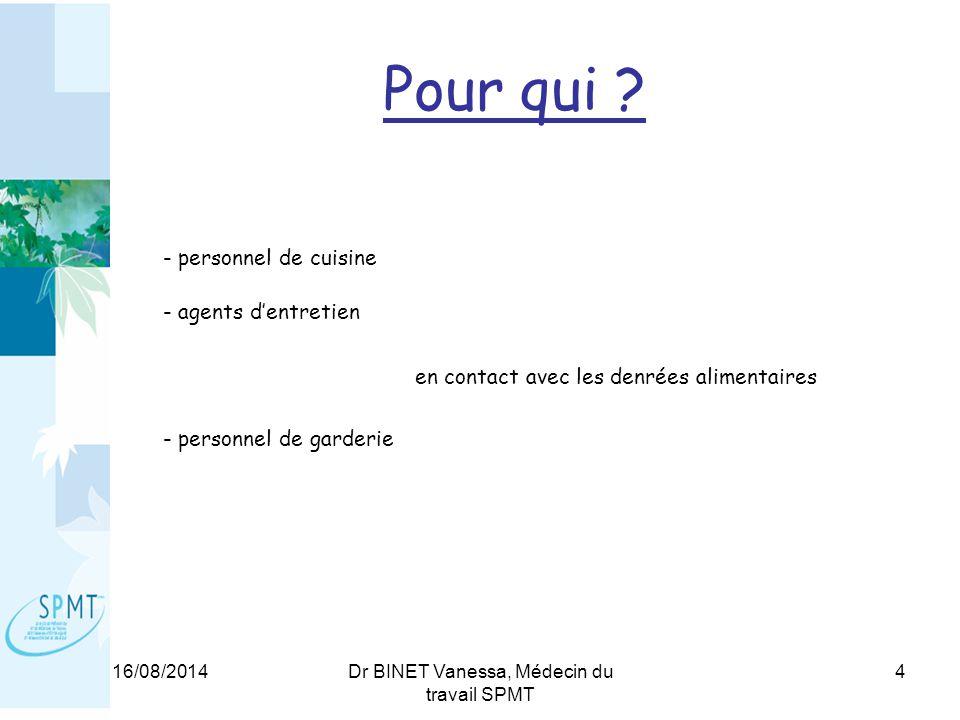 16/08/2014Dr BINET Vanessa, Médecin du travail SPMT 4 Pour qui .