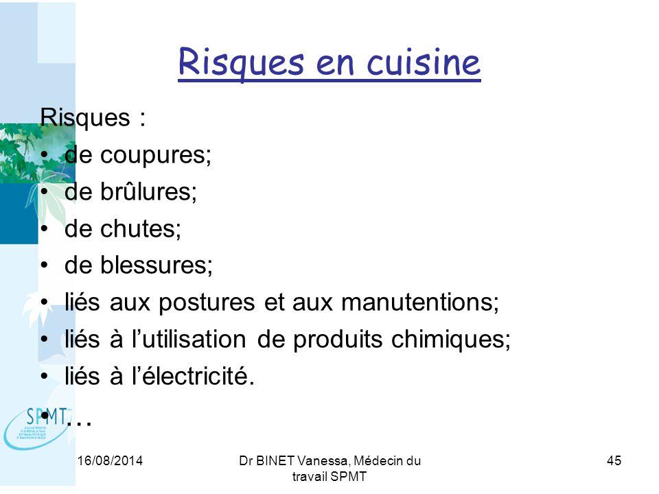 Risques en cuisine Risques : de coupures; de brûlures; de chutes; de blessures; liés aux postures et aux manutentions; liés à l'utilisation de produits chimiques; liés à l'électricité.