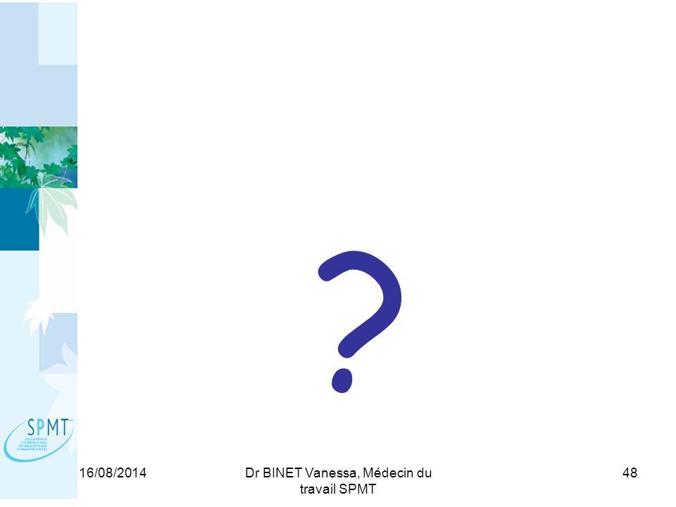 16/08/2014Dr BINET Vanessa, Médecin du travail SPMT 48 ?