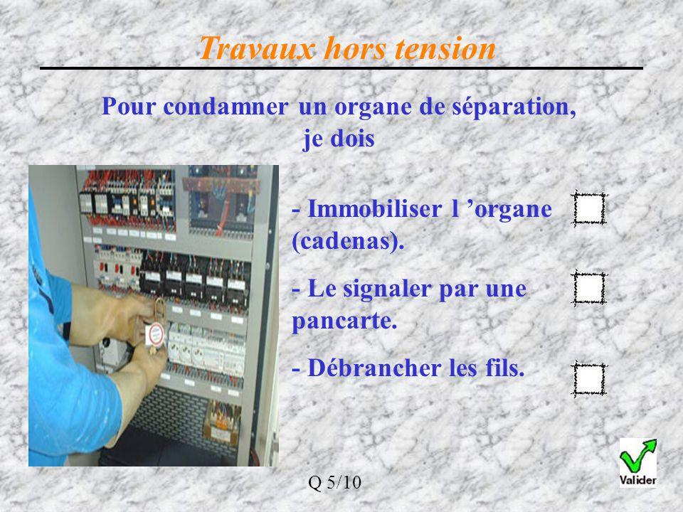 Travaux hors tension La séparation de l'ouvrage des sources de tension peut se faire avec: Un sectionneur ou un interrupteur Cette séparation doit êtr