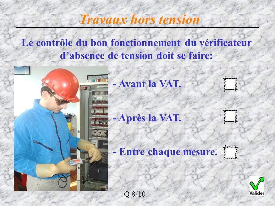 Travaux hors tension Dans la procédure de consignation en 4 opérations, VAT veut dire : Vérification d 'Absence de Tension Elle doit se faire le plus
