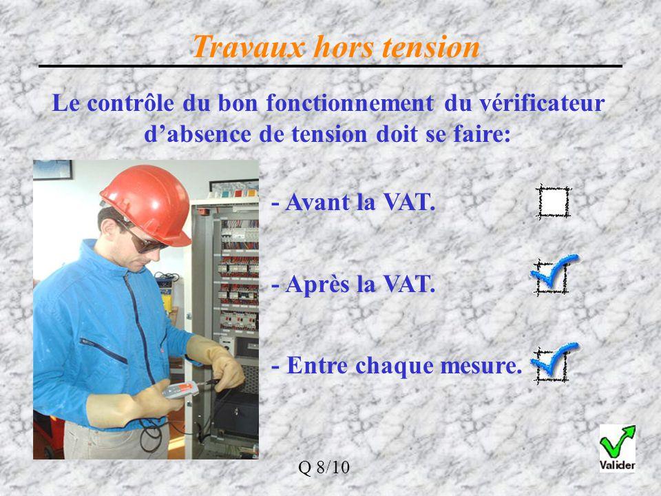 Travaux hors tension Le contrôle du bon fonctionnement du vérificateur d'absence de tension doit se faire: - Avant la VAT. - Après la VAT. - Entre cha