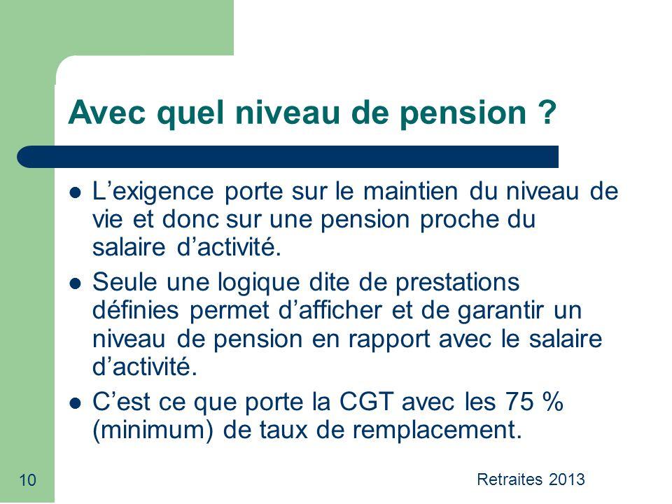 10 Avec quel niveau de pension .