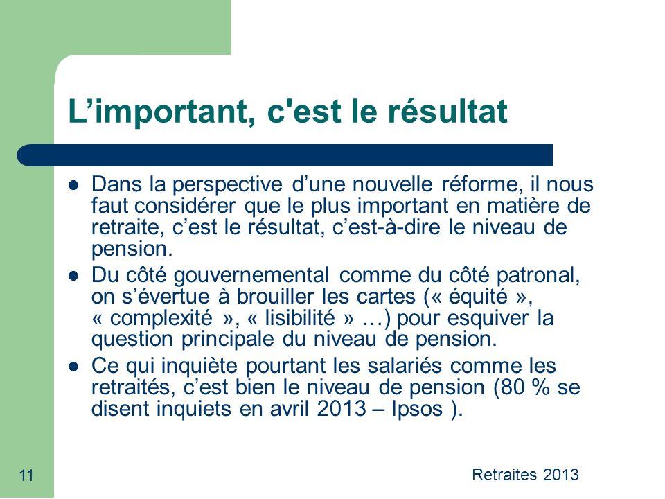11 L'important, c est le résultat Dans la perspective d'une nouvelle réforme, il nous faut considérer que le plus important en matière de retraite, c'est le résultat, c'est-à-dire le niveau de pension.