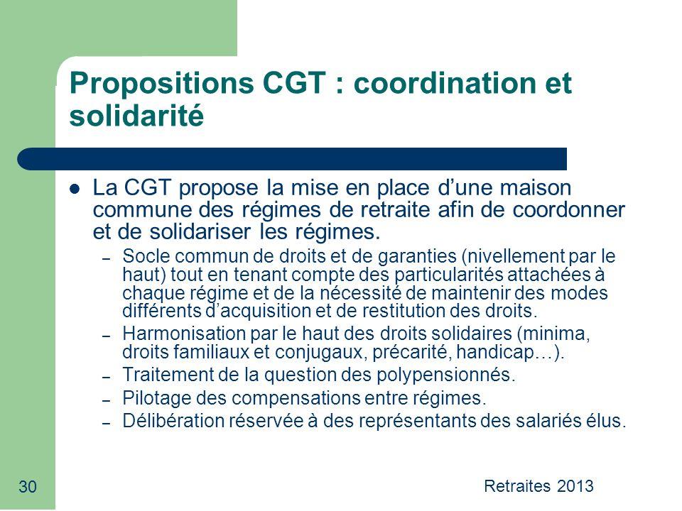 30 Propositions CGT : coordination et solidarité La CGT propose la mise en place d'une maison commune des régimes de retraite afin de coordonner et de solidariser les régimes.