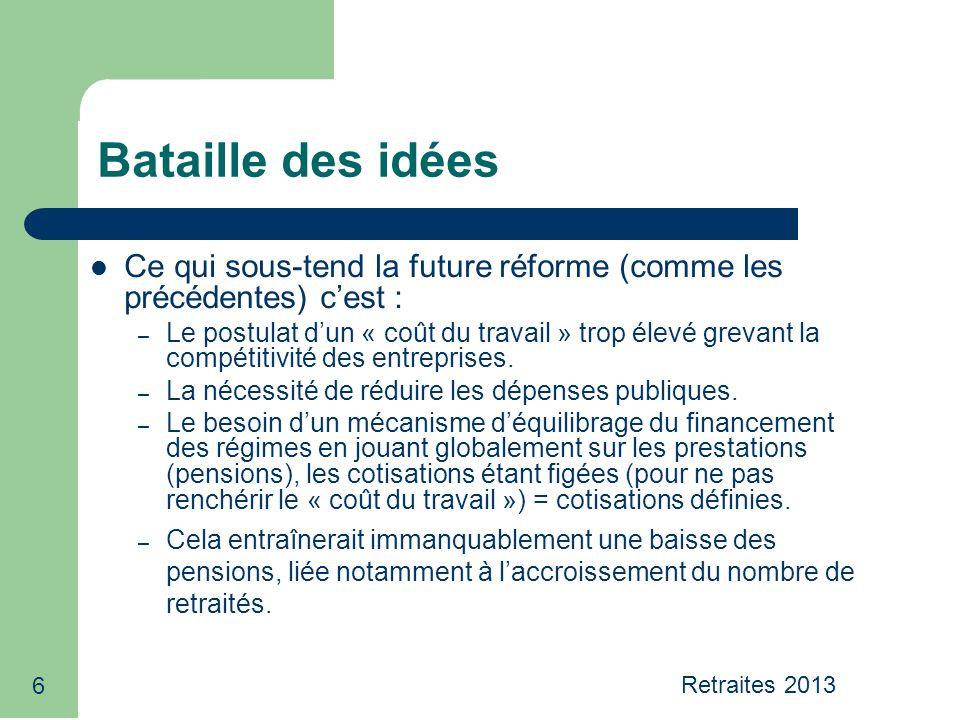 6 Bataille des idées Ce qui sous-tend la future réforme (comme les précédentes) c'est : – Le postulat d'un « coût du travail » trop élevé grevant la compétitivité des entreprises.