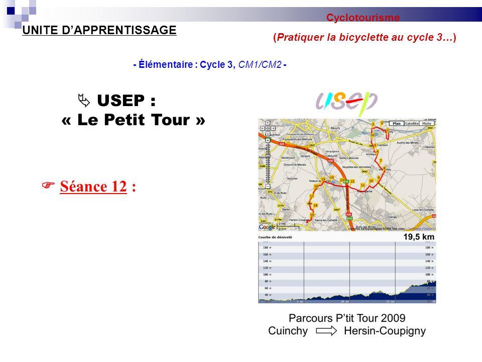 Cyclotourisme (Pratiquer la bicyclette au cycle 3…) UNITE D'APPRENTISSAGE - Élémentaire : Cycle 3, CM1/CM2 -  Séance 12 :  USEP : « Le Petit Tour »