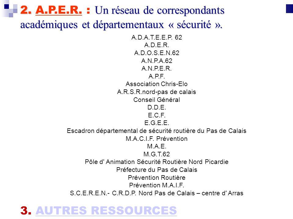 2. Un réseau de correspondants académiques et départementaux « sécurité ». 2. A.P.E.R. : Un réseau de correspondants académiques et départementaux « s