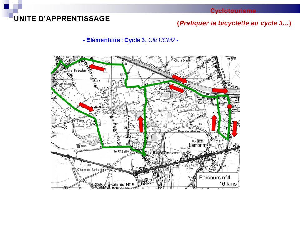 Cyclotourisme (Pratiquer la bicyclette au cycle 3…) UNITE D'APPRENTISSAGE - Élémentaire : Cycle 3, CM1/CM2 -  Séance 9 : Sur route Objectifs d'apprentissages Être capable de respecter et de réinvestir tous les apprentissages précédents.