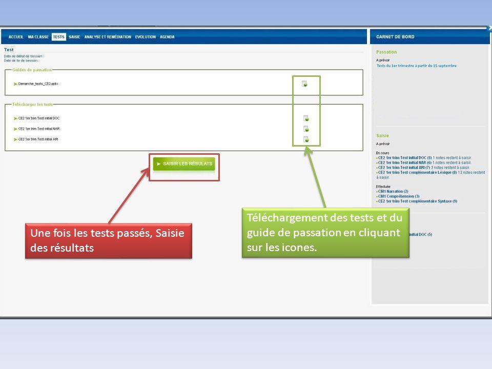 Une fois les tests passés, Saisie des résultats Téléchargement des tests et du guide de passation en cliquant sur les icones.