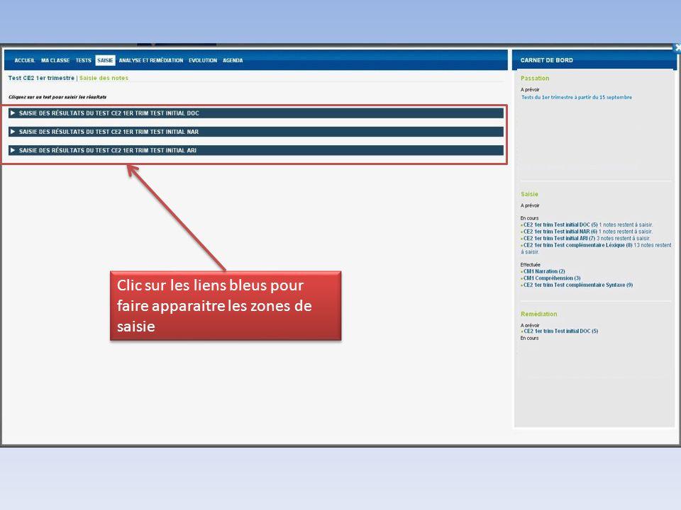 Clic sur les liens bleus pour faire apparaitre les zones de saisie