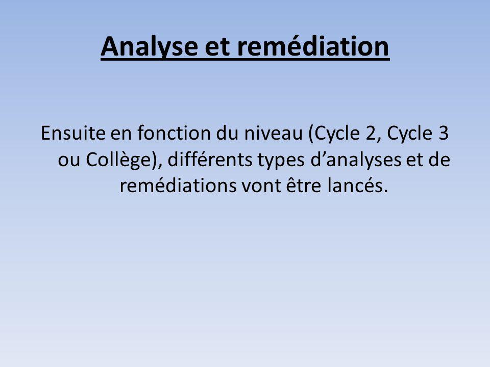 Analyse et remédiation Ensuite en fonction du niveau (Cycle 2, Cycle 3 ou Collège), différents types d'analyses et de remédiations vont être lancés.
