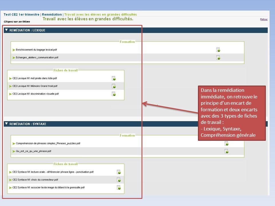 Dans la remédiation immédiate, on retrouve le principe d'un encart de formation et deux encarts avec des 3 types de fiches de travail : - Lexique, Syn