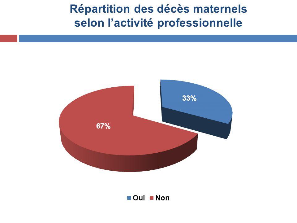 Répartition des décès maternels selon l'activité professionnelle