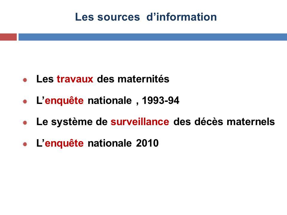 Les sources d'information  Les travaux des maternités  L'enquête nationale, 1993-94  Le système de surveillance des décès maternels  L'enquête nat