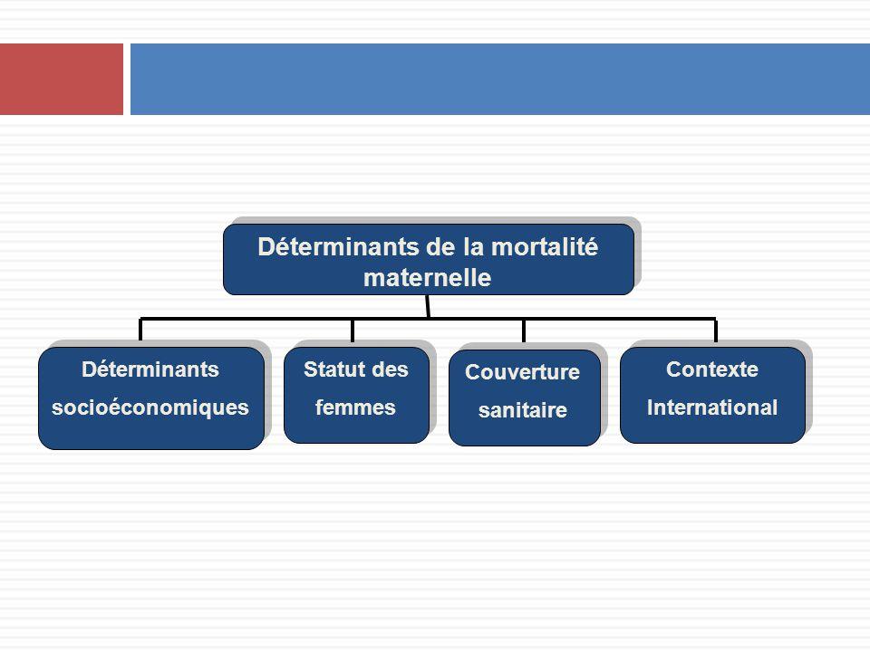 Déterminants de la mortalité maternelle Déterminants socioéconomiques Déterminants socioéconomiques Statut des femmes Couverture sanitaire Contexte In