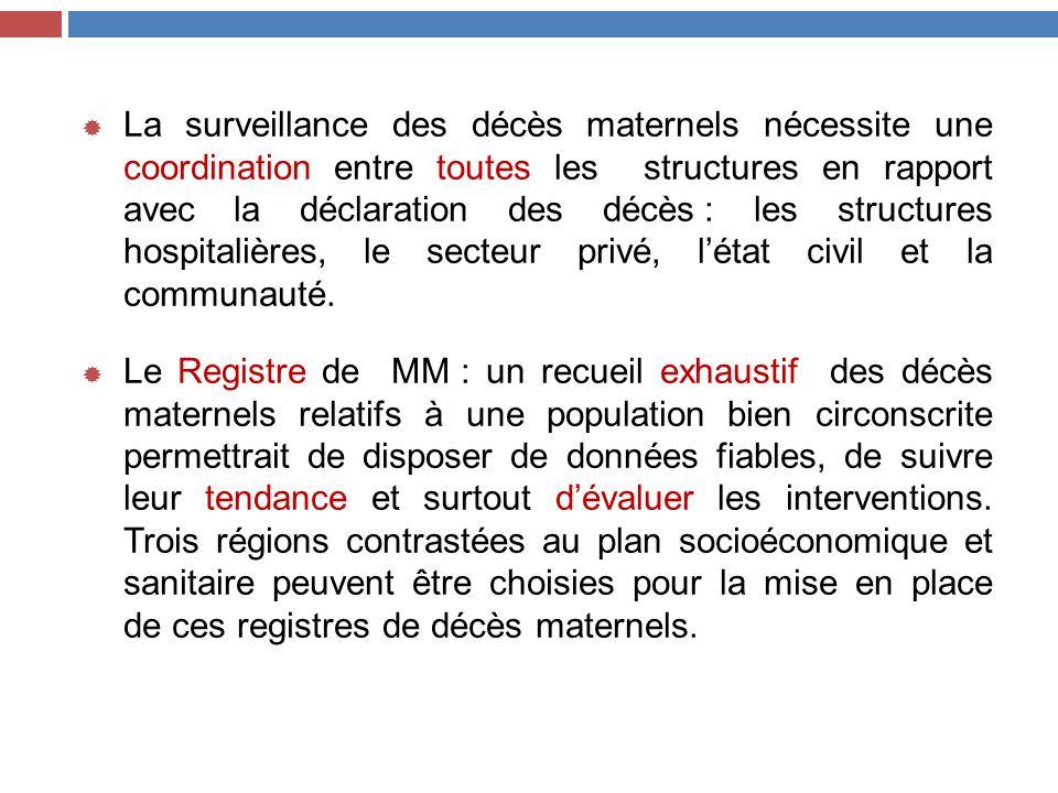  La surveillance des décès maternels nécessite une coordination entre toutes les structures en rapport avec la déclaration des décès : les structures