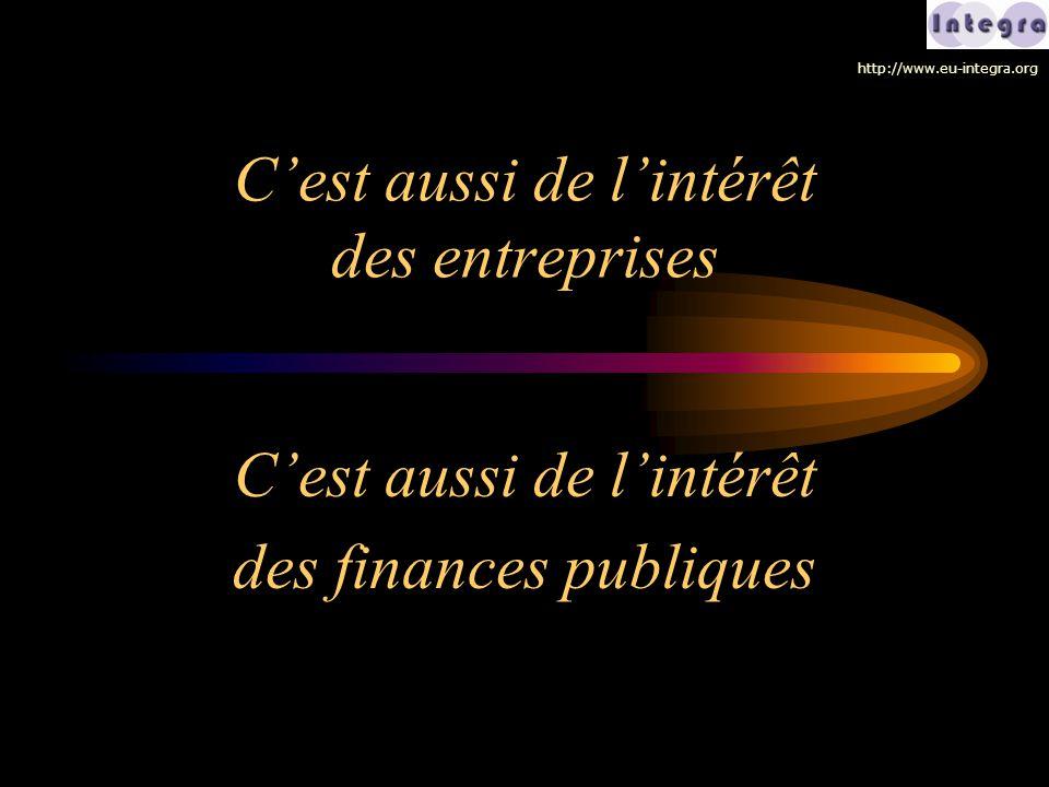 C'est aussi de l'intérêt des entreprises C'est aussi de l'intérêt des finances publiques http://www.eu-integra.org
