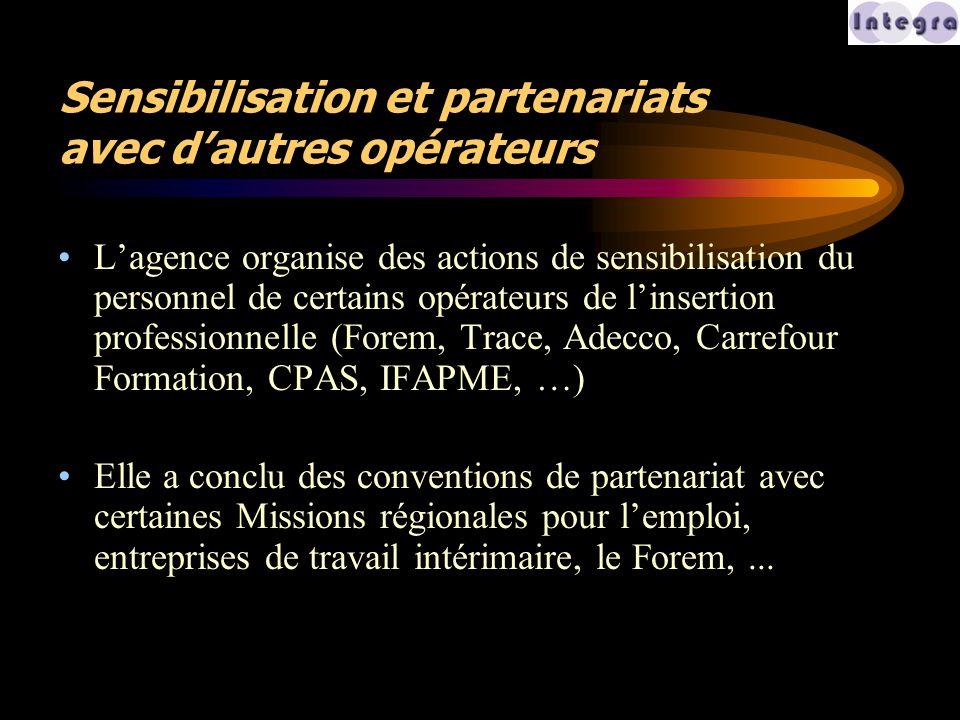 Sensibilisation et partenariats avec d'autres opérateurs L'agence organise des actions de sensibilisation du personnel de certains opérateurs de l'ins
