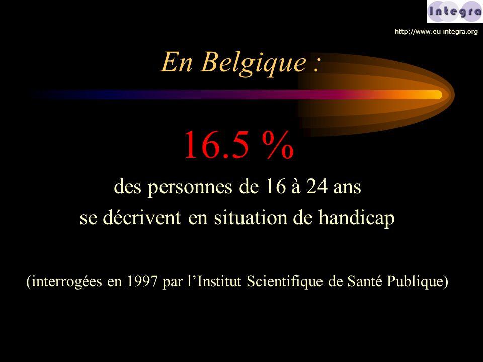 En Belgique : 16.5 % des personnes de 16 à 24 ans se décrivent en situation de handicap (interrogées en 1997 par l'Institut Scientifique de Santé Publ