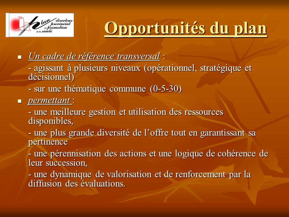 Opportunités du plan Un cadre de référence transversal : Un cadre de référence transversal : - agissant à plusieurs niveaux (opérationnel, stratégique et décisionnel) - sur une thématique commune (0-5-30) permettant : permettant : - une meilleure gestion et utilisation des ressources disponibles, - une plus grande diversité de l'offre tout en garantissant sa pertinence - une pérennisation des actions et une logique de cohérence de leur succession, - une dynamique de valorisation et de renforcement par la diffusion des évaluations.