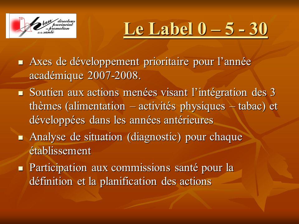 Le Label 0 – 5 - 30 Axes de développement prioritaire pour l'année académique 2007-2008.