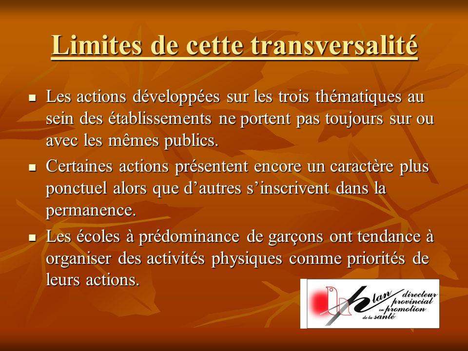 Limites de cette transversalité Les actions développées sur les trois thématiques au sein des établissements ne portent pas toujours sur ou avec les mêmes publics.