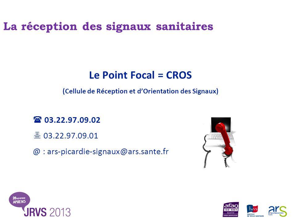 Le Point Focal = CROS (Cellule de Réception et d'Orientation des Signaux)  03.22.97.09.02  03.22.97.09.01 @ : ars-picardie-signaux@ars.sante.fr La r