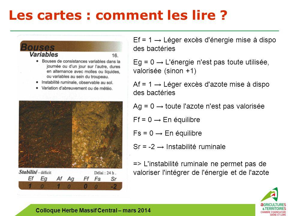 Colloque Herbe Massif Central – mars 2014 Les cartes : comment les lire ? Ef = 1 → Léger excès d'énergie mise à dispo des bactéries Eg = 0 → L'énergie
