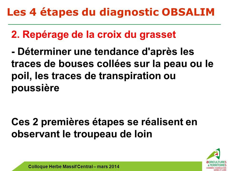 Colloque Herbe Massif Central – mars 2014 Les 4 étapes du diagnostic OBSALIM 2. Repérage de la croix du grasset - Déterminer une tendance d'après les