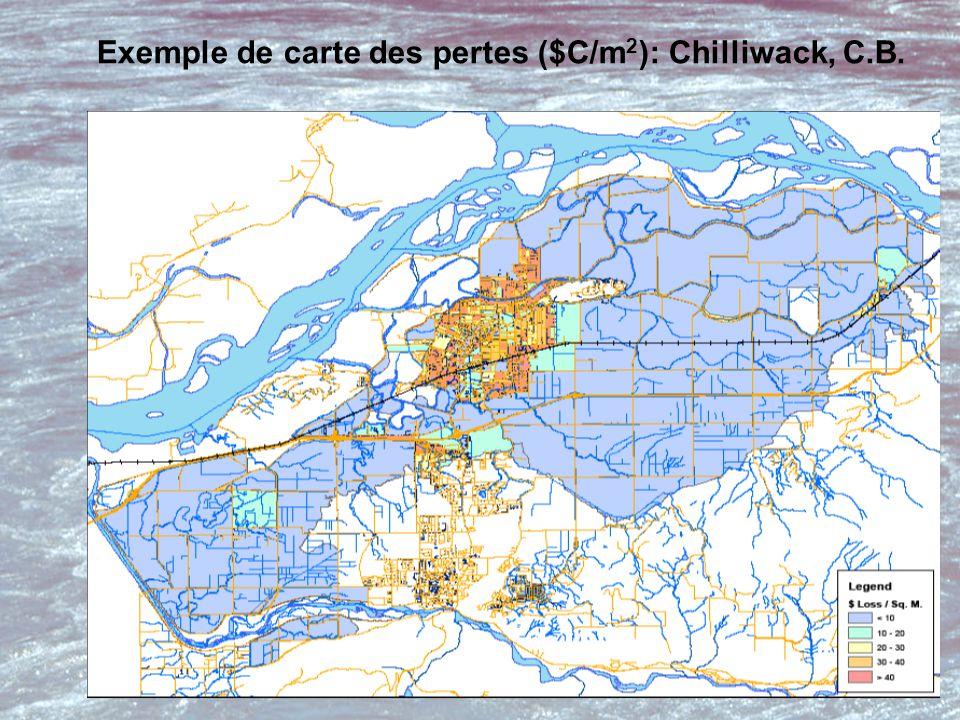 Exemple de carte des pertes ($C/m 2 ): Chilliwack, C.B.