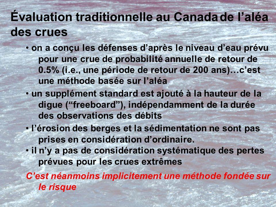 Évaluation traditionnelle au Canada de l'aléa des crues on a conçu les défenses d'après le niveau d'eau prévu pour une crue de probabilité annuelle de retour de 0.5% (i.e., une période de retour de 200 ans)…c'est une méthode basée sur l'aléa un supplément standard est ajouté à la hauteur de la digue ( freeboard ), indépendamment de la durée des observations des débits l'érosion des berges et la sédimentation ne sont pas prises en considération d'ordinaire.