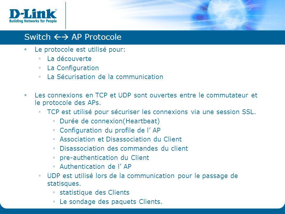 Switch  AP Protocole  Le protocole est utilisé pour:  La découverte  La Configuration  La Sécurisation de la communication  Les connexions en T