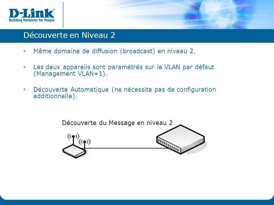 Découverte en Niveau 2  Même domaine de diffusion (broadcast) en niveau 2.  Les deux appareils sont paramétrés sur le VLAN par défaut (Management VL