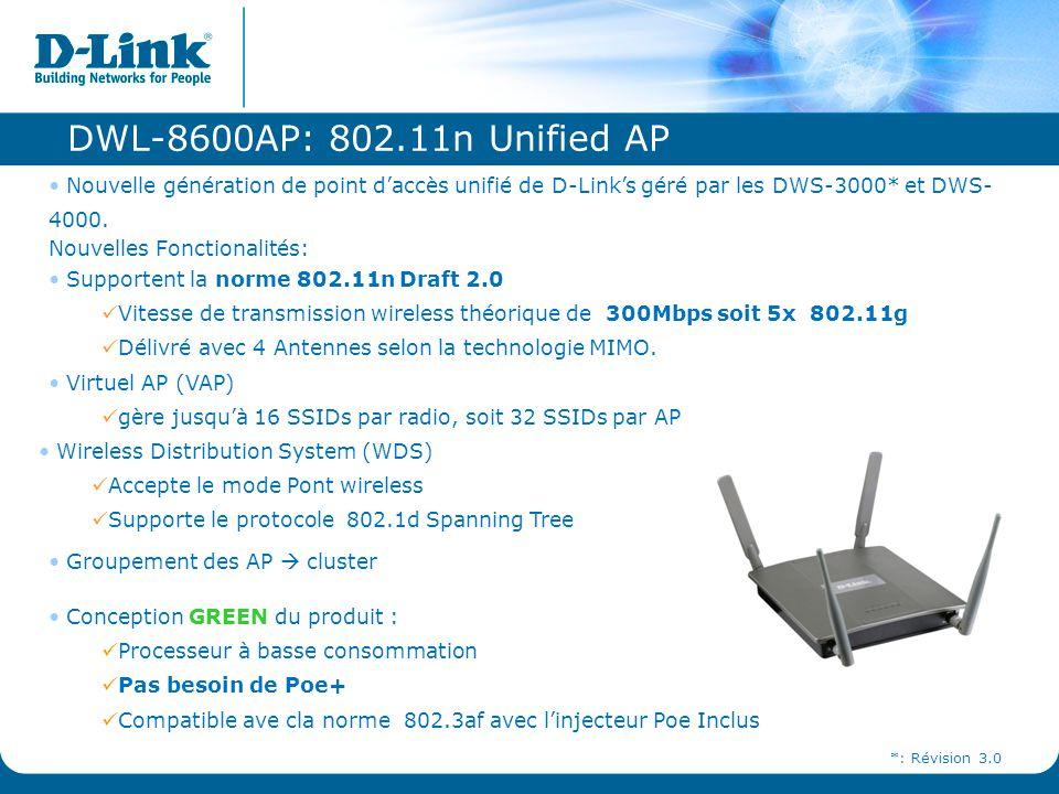 DWL-8600AP: 802.11n Unified AP Nouvelle génération de point d'accès unifié de D-Link's géré par les DWS-3000* et DWS- 4000. Nouvelles Fonctionalités: