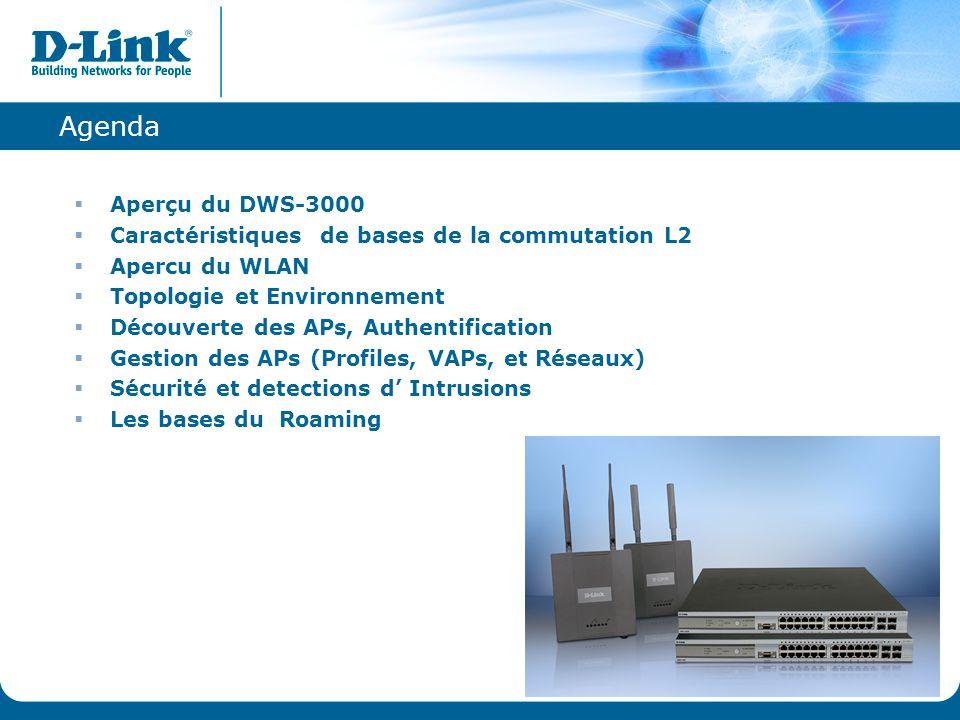 Agenda  Aperçu du DWS-3000  Caractéristiques de bases de la commutation L2  Apercu du WLAN  Topologie et Environnement  Découverte des APs, Authe