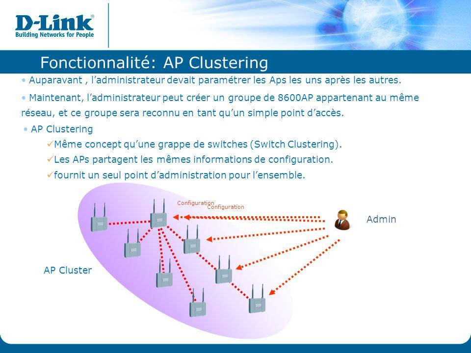 AP Cluster Fonctionnalité: AP Clustering Auparavant, l'administrateur devait paramétrer les Aps les uns après les autres. Maintenant, l'administrateur